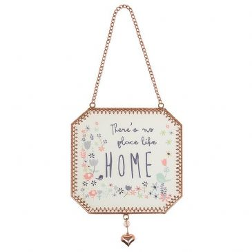 There's No Place Like Home Tinted Rose Gold Transparent Hanging Sign Plaque (1)